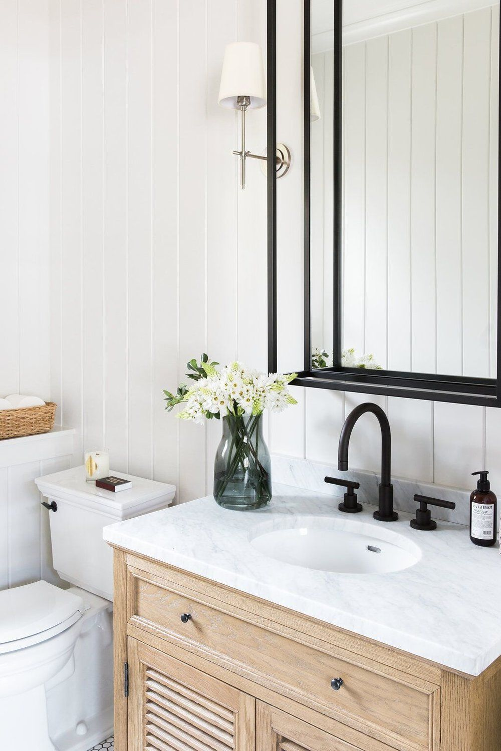 Get the Look: Two-Toned Bathroom | Mirror inspiration, Studio mcgee ...