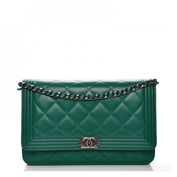 b93b335dc75bdf CHANEL Lambskin Quilted Boy Wallet On Chain WOC Green ❤ liked on Polyvore  featuring bags, wallets, chain bag, lambskin wallet, chanel, quilted bag  and ...