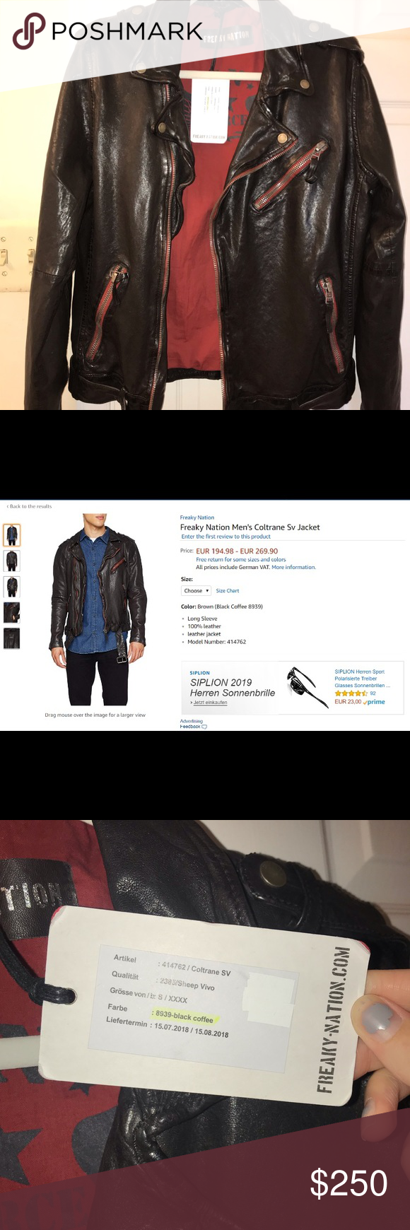 528bb3adc Freaky Nation Brown Leather Jacket (Germany) Brown leather jacket ...