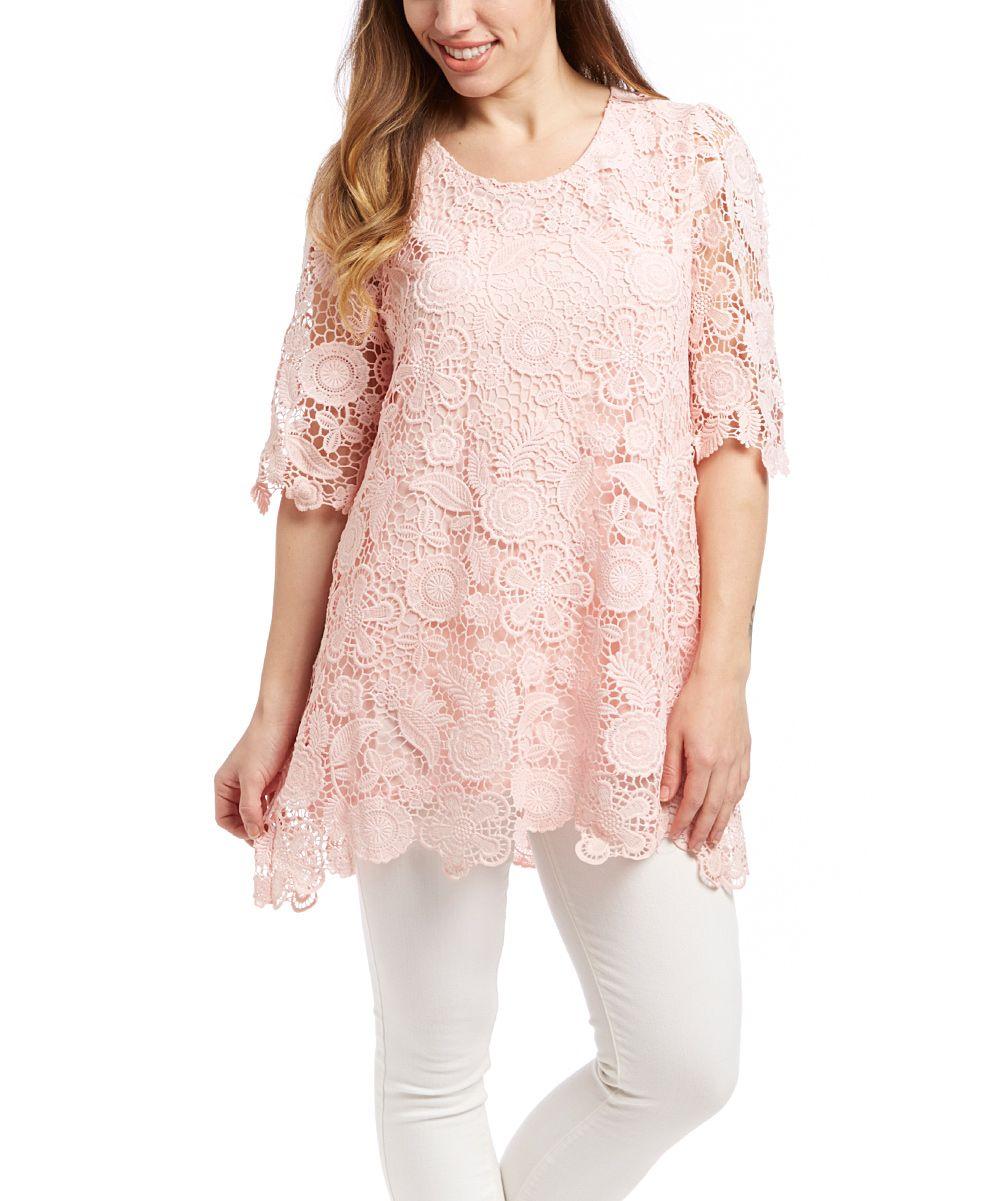 Pretty Angel Pink Floral Crochet Linen-Blend Tunic | zulily ...