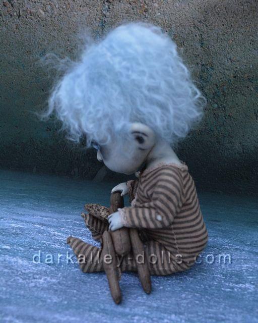 Little Girl with Blue Hair. Gothic Artist Doll. BJD. Clover by Dark Alley Dolls.