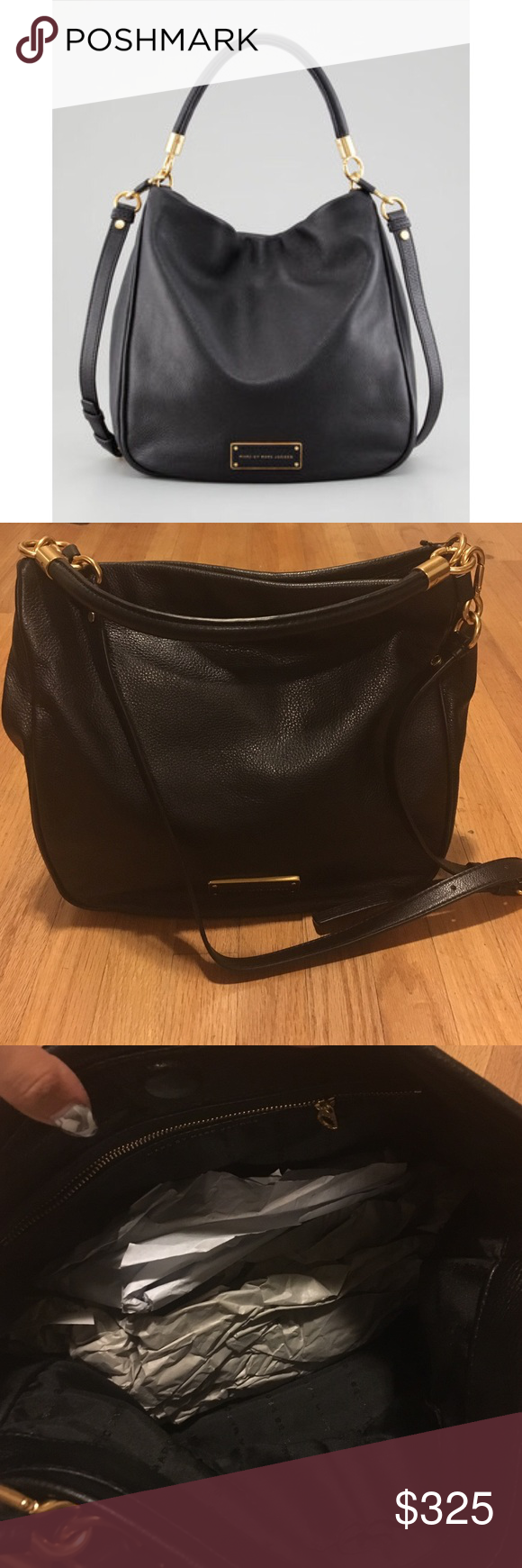MARC BY MARC JACOBS hobo bag MARC BY MARC JACOBS black hobo bag. New q hillier hobo bag in soft grain leather. Has gold hardware, magnetic closure and three interior pockets one with zip closure. A stunning price for everyday wear! Marc by Marc Jacobs Bags Hobos