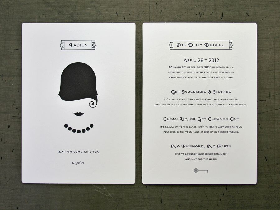 Fame Speakeasy letterpress printed by Studio on Fire | FEMININE ...