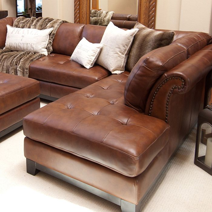 Corsario Leather Sectional With Right Facing Chaise And Ottoman Leather Sectional Sofas Leather Furniture Decor Leather Furniture