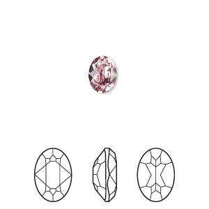 Embellishment, Swarovski crystal rhinestone, light rose, foil back, 8x6mm faceted oval fancy stone (4120). Sold per pkg of 18.