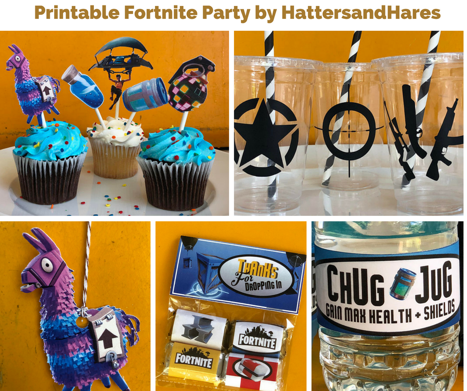 Printable Fortnite Party By Hattersandhares Birthday Wikii Birthday Party Decorations Birthday Printables Birthday Party Favors