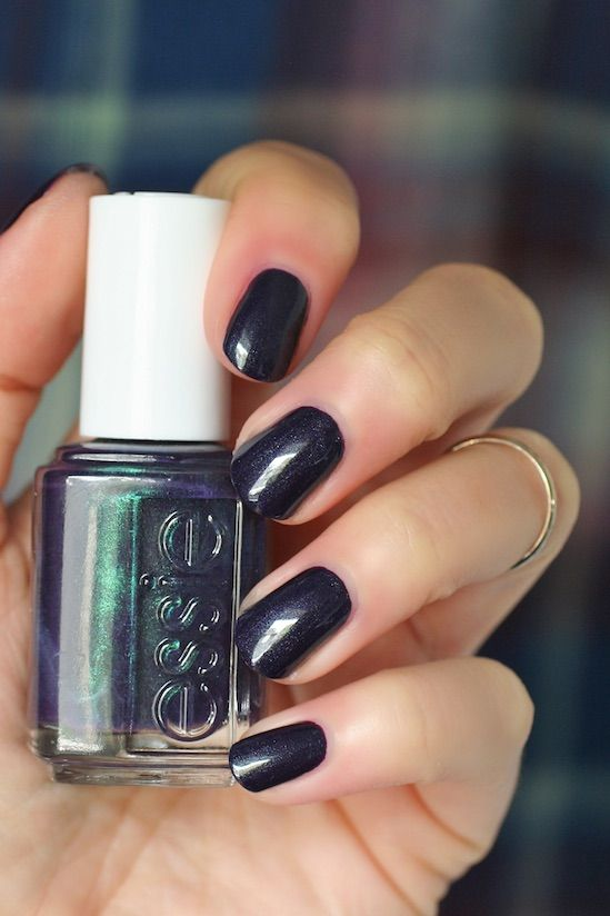 Essie Dressed To The Nineties Deep Indigo Blue W Fine Green Shimmer Nail Polish Lacquer From Fall 2017 Swatch Nail Polish Essie Nail Trendy Nails