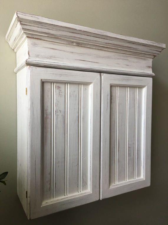 Distressed White Cabinet Bathroom Cabinet by CozyCreekWoodworking ...