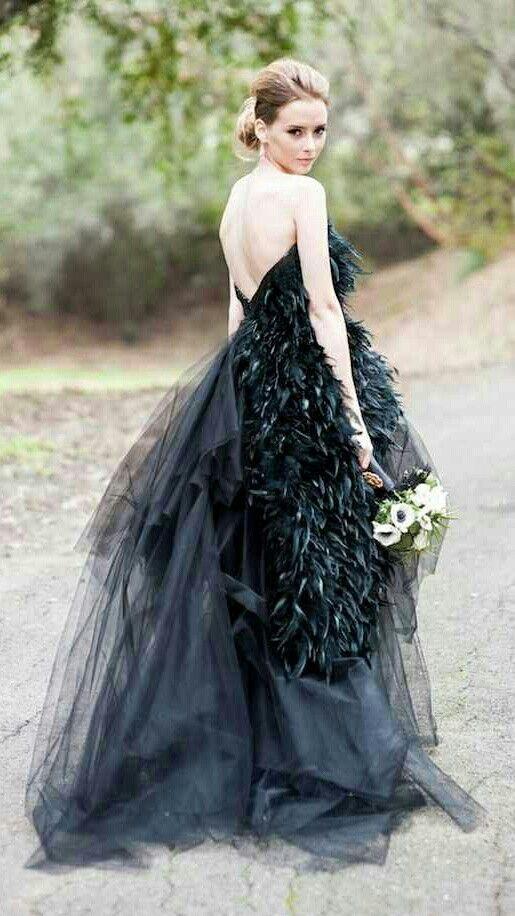 Unique black wedding gown