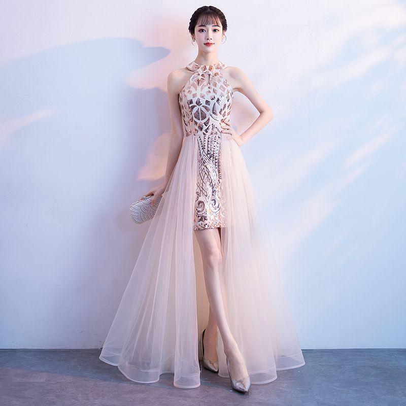 a9a20e02b8fa8e Chic   Beautiful Champagne Evening Dresses 2018 A-Line   Princess Sequins  Scoop Neck Sleeveless