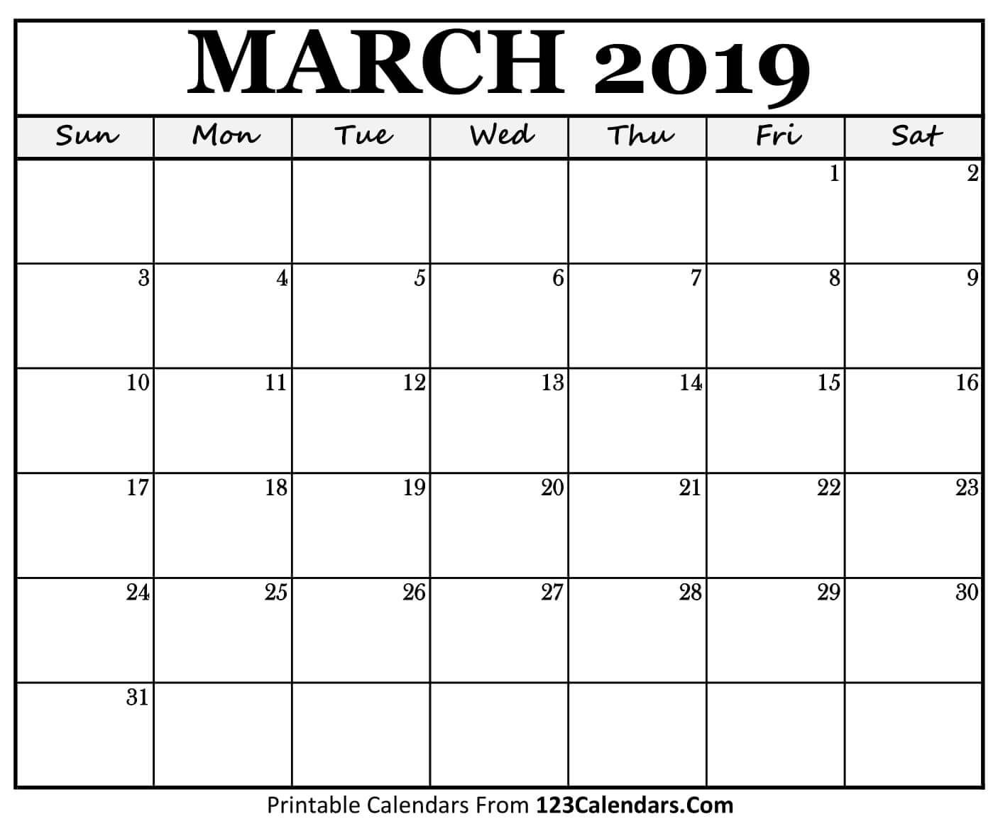 picture relating to Calendar March Printable titled Regular monthly Calendar March 2019 Template Free of charge Obtain Totally free