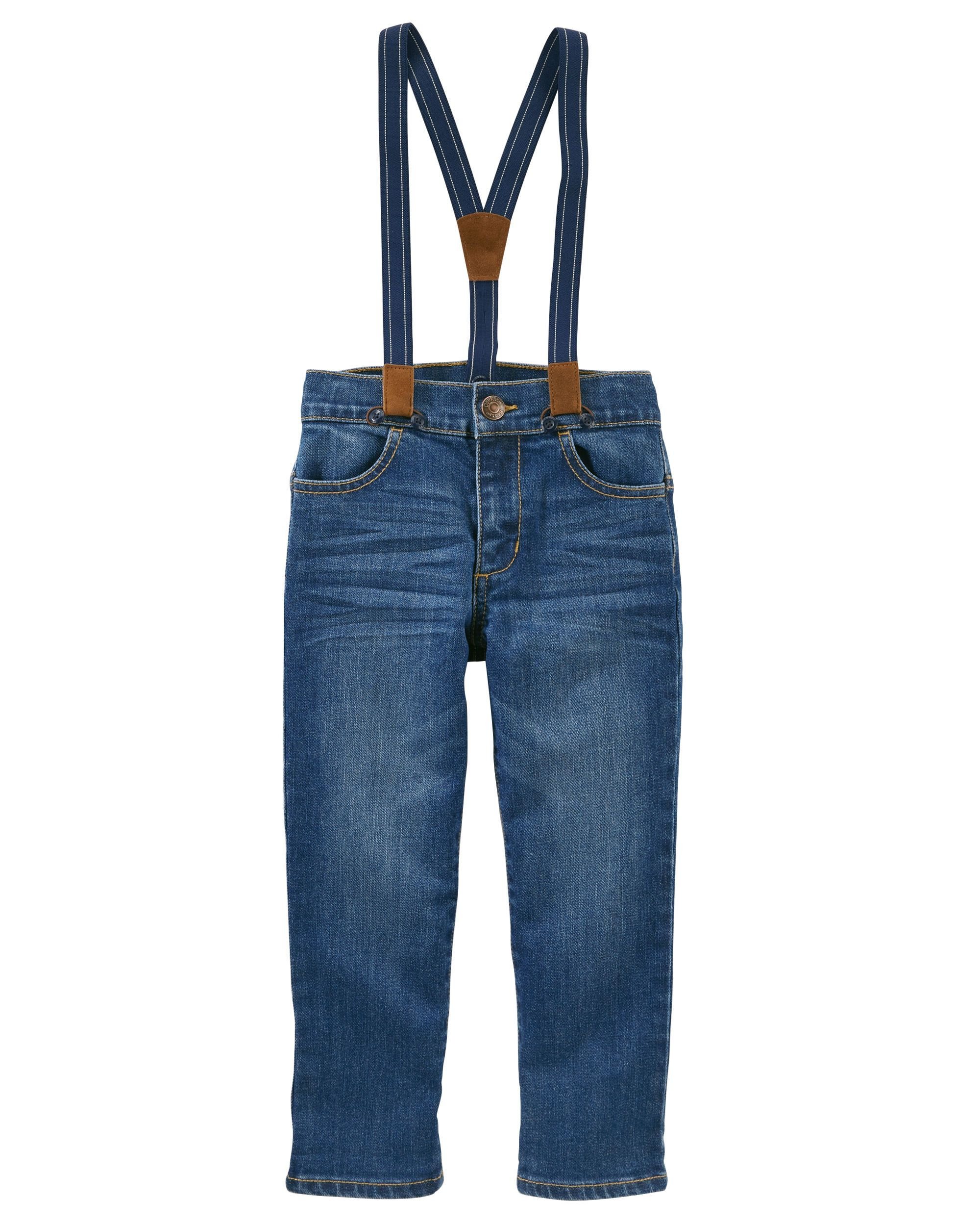 With removable suspenders, this denim is a genuine OshKosh favorite. Pair these jeans with a plaid button-front for top-notch style.