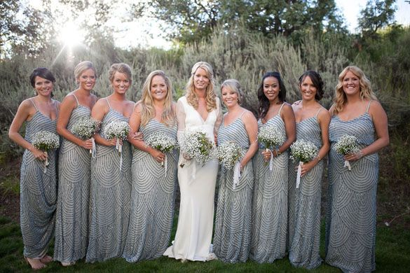 Rustic Glam Wedding | Grey Shimmer Bridesmaid Dresses | Eco Chic ...