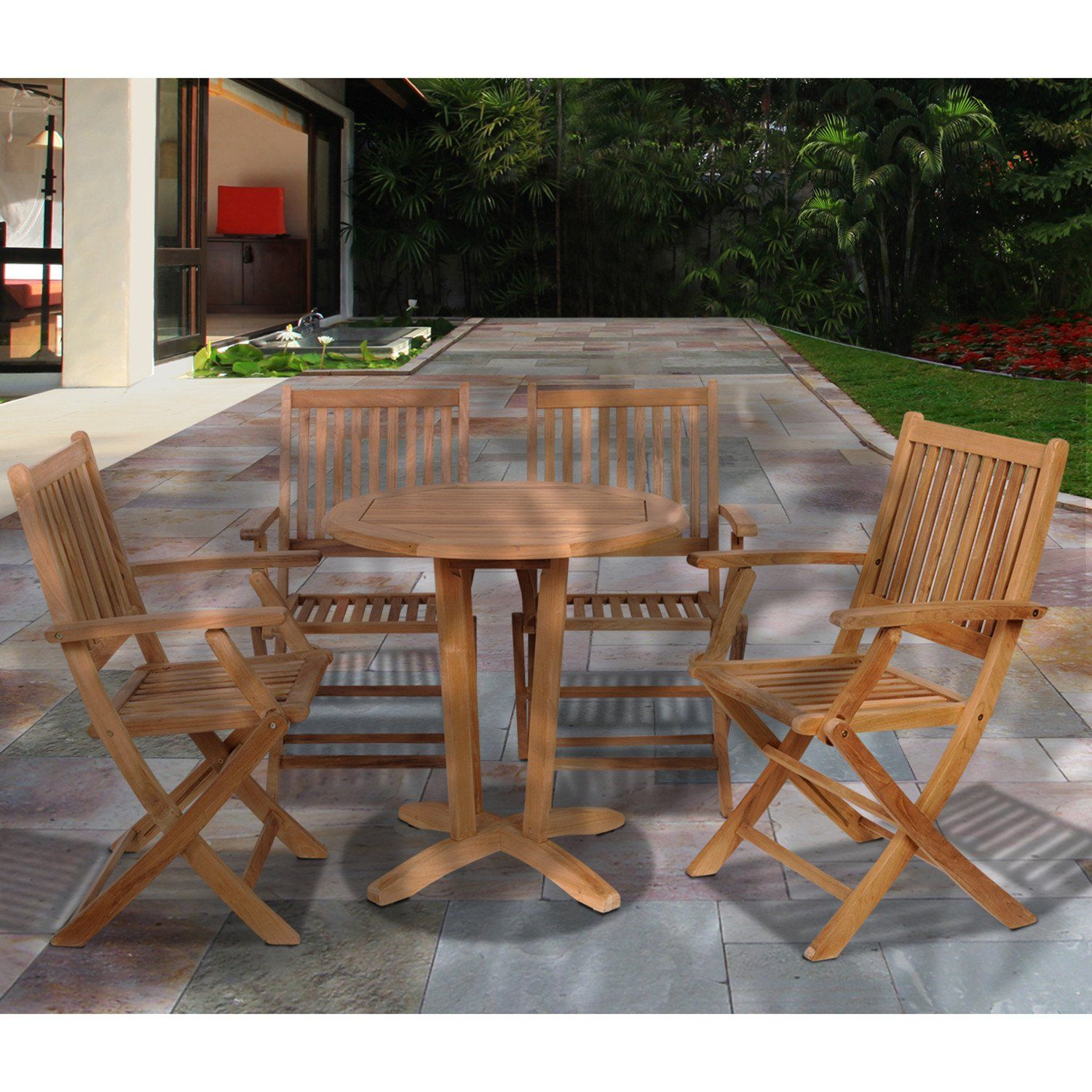 Kansas 5 Piece Teak Round Patio Bistro Set Outdoor