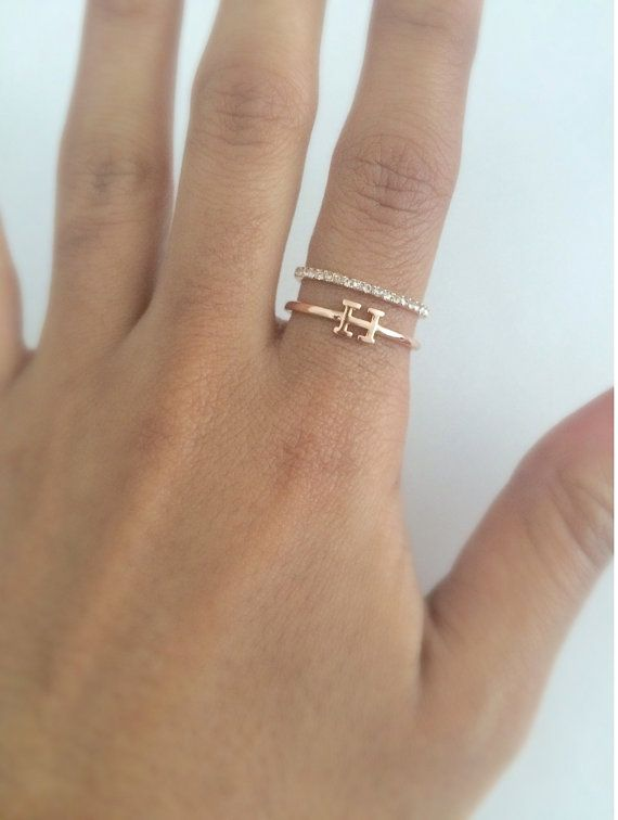 Gold ring designs, Gold initial ring