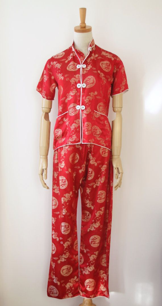 fd54a526c9 Red Chinese satin pyjamas. Red satin pants. by ForestHillTradingCo