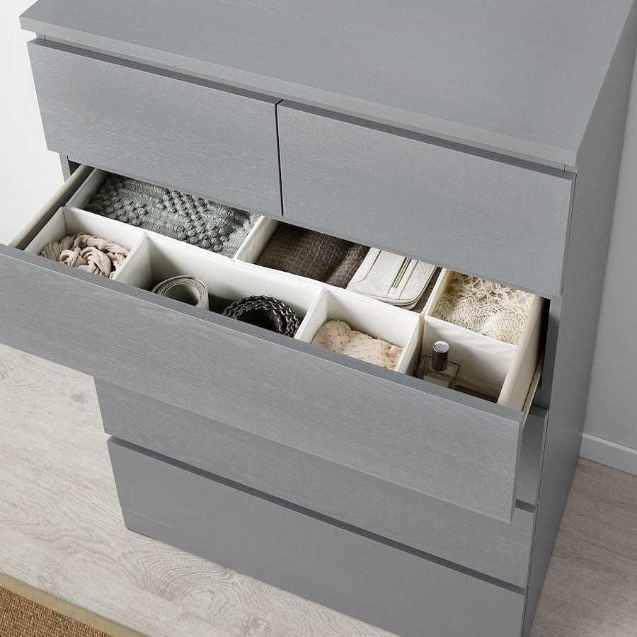 Malm 6 Drawer Dresser Gray Stained 31 1 2x48 3 8 6 Drawer