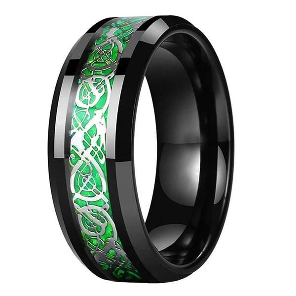 Celtic Dragon Collection Image By Op Jewelers Blue Tungsten Ring Black Tungsten Wedding Band Black Tungsten Rings