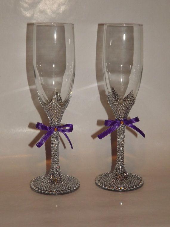 7f8a3df69eba Rhinestone Bling Champagne Flutes Toasting Bridal Glasses via Etsy ...