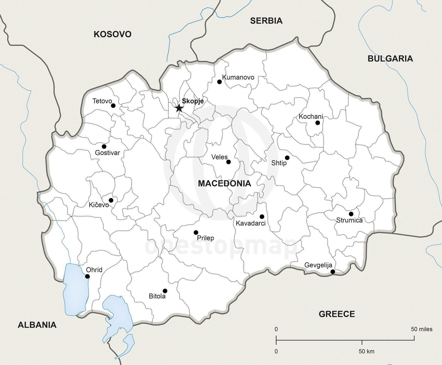 Vector map of macedonia political macedonia vector map of macedonia political one stop map publicscrutiny Choice Image