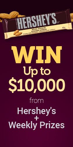 Win Up to $10,000 from Hershey's   Weekly Prizes