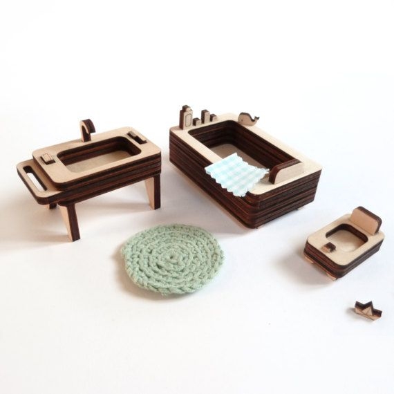 Wooden Bathroom Furniture Miniature To Play With The Milkywood Dollhouses Or Other Doll House Wooden Bathroom Furniture Wooden Bathroom