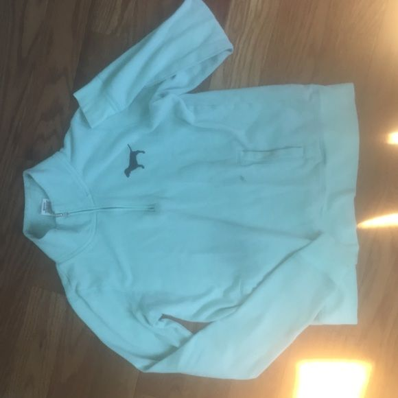 Mint Victoria's Secret pullover Victoria's Secret mint pullover extra small. Small stain on pocket as seen in last picture price reflects the condition. There are no holes and still has much life to live. PINK Victoria's Secret Sweaters