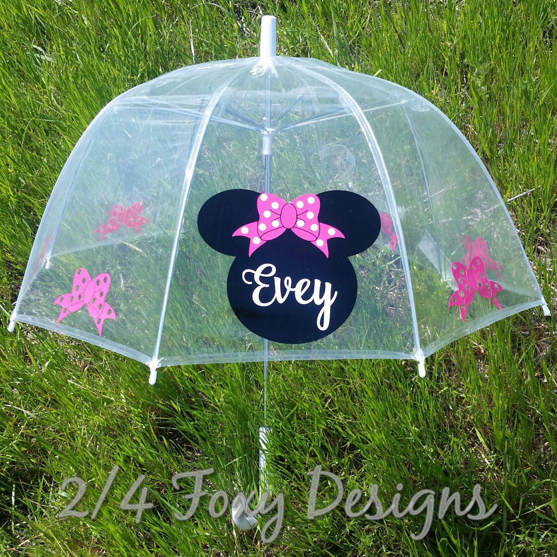 Minnie Mouse Kids Clear Bubble Dome Umbrella, Custom, Personalized ...
