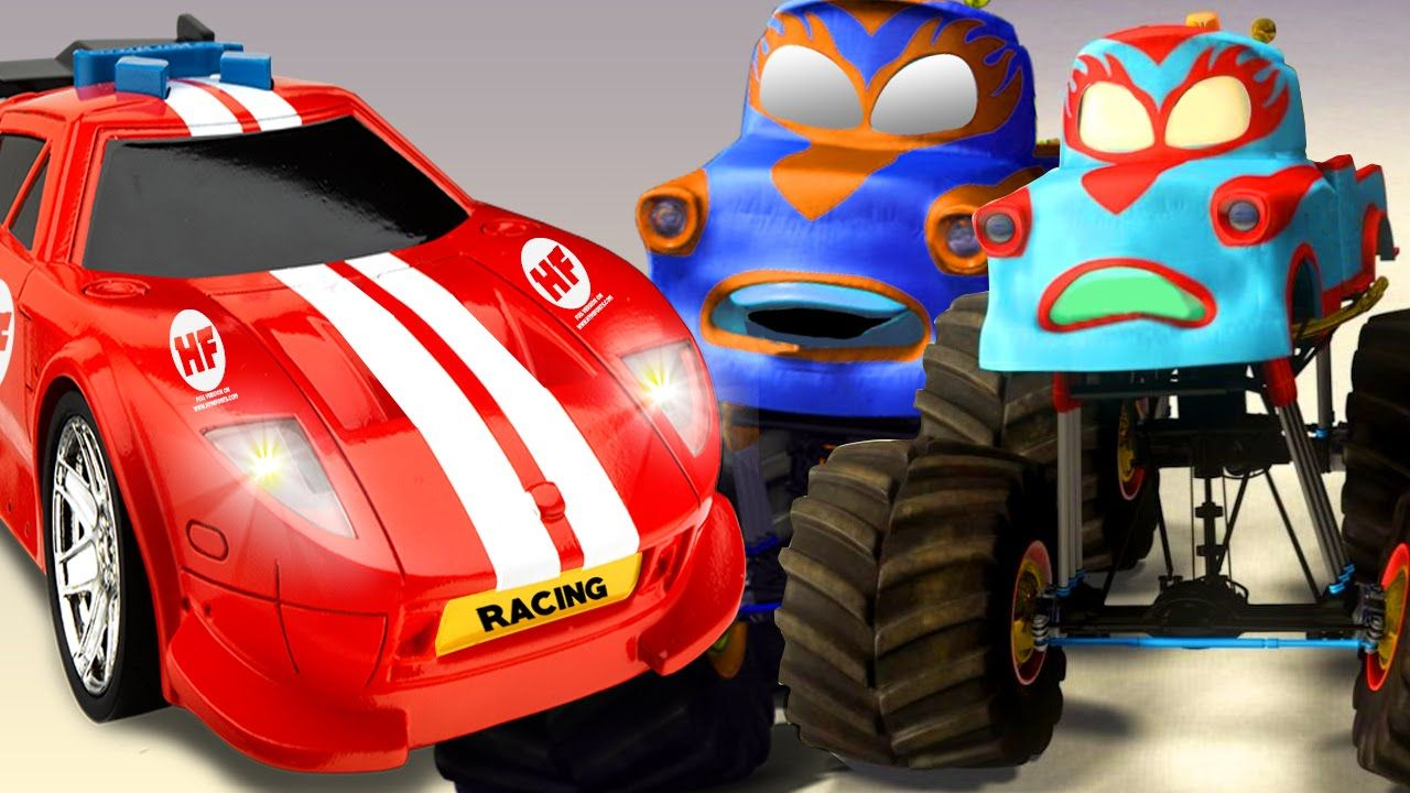 Colors Monster Truck Vehicles For Children | Car Racing For Kids ...