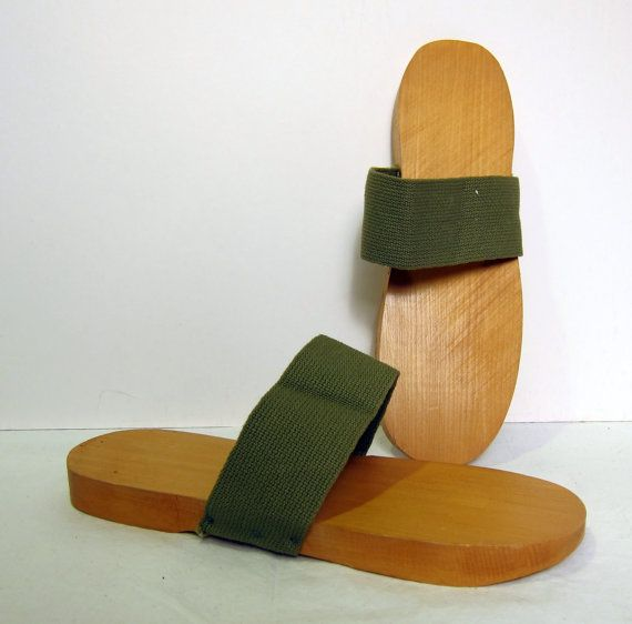 Vintage 1940s Military Issue Wooden Clogs   40s WWII Men s Shower ... 99ba404bd43