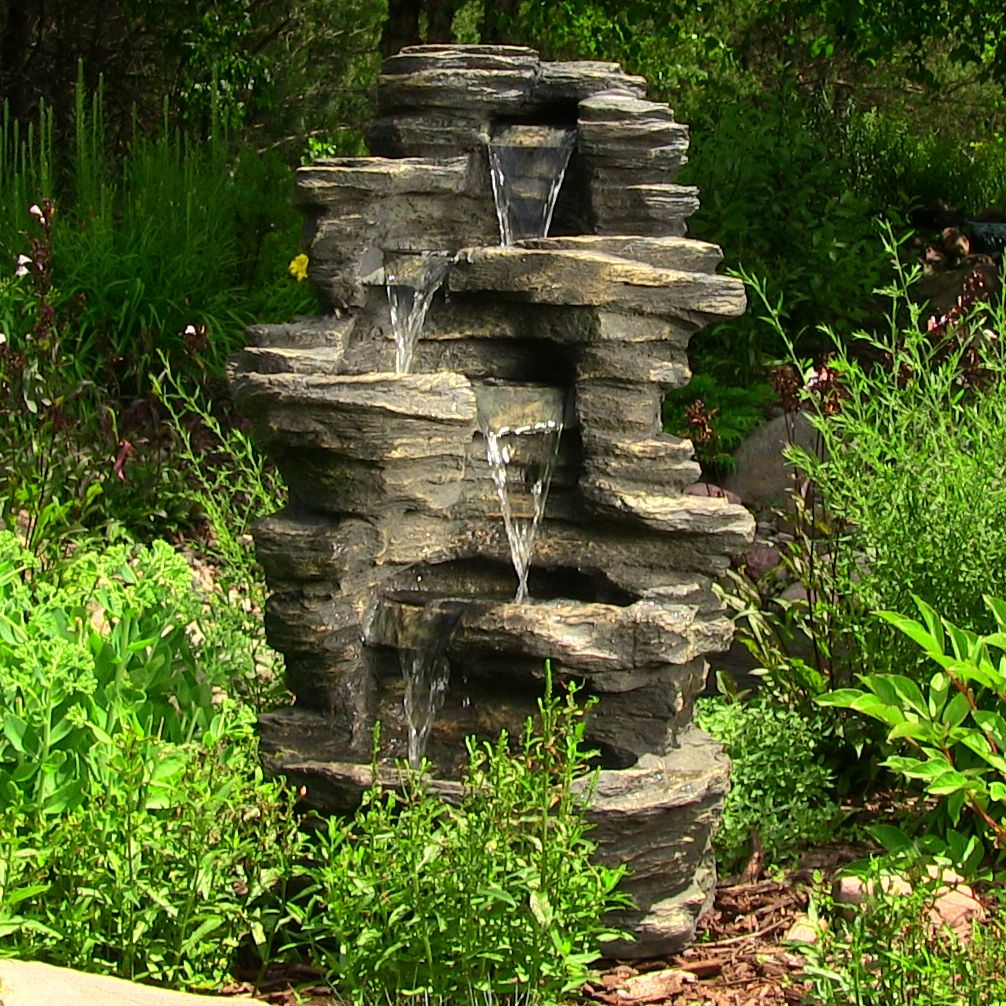 Sunnydaze 39 Rock Falls Fountain With Led Lights Is A Great For Any Garden Or Woodland Setting