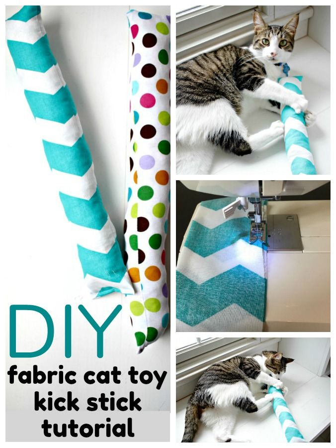 Do Your Cats Love To Play This Diy Cat Toy Fabric Kick Stick Is An Easy Project That Your Cats Will Love To Kick Diy Cat Toys Easy Diy Cat