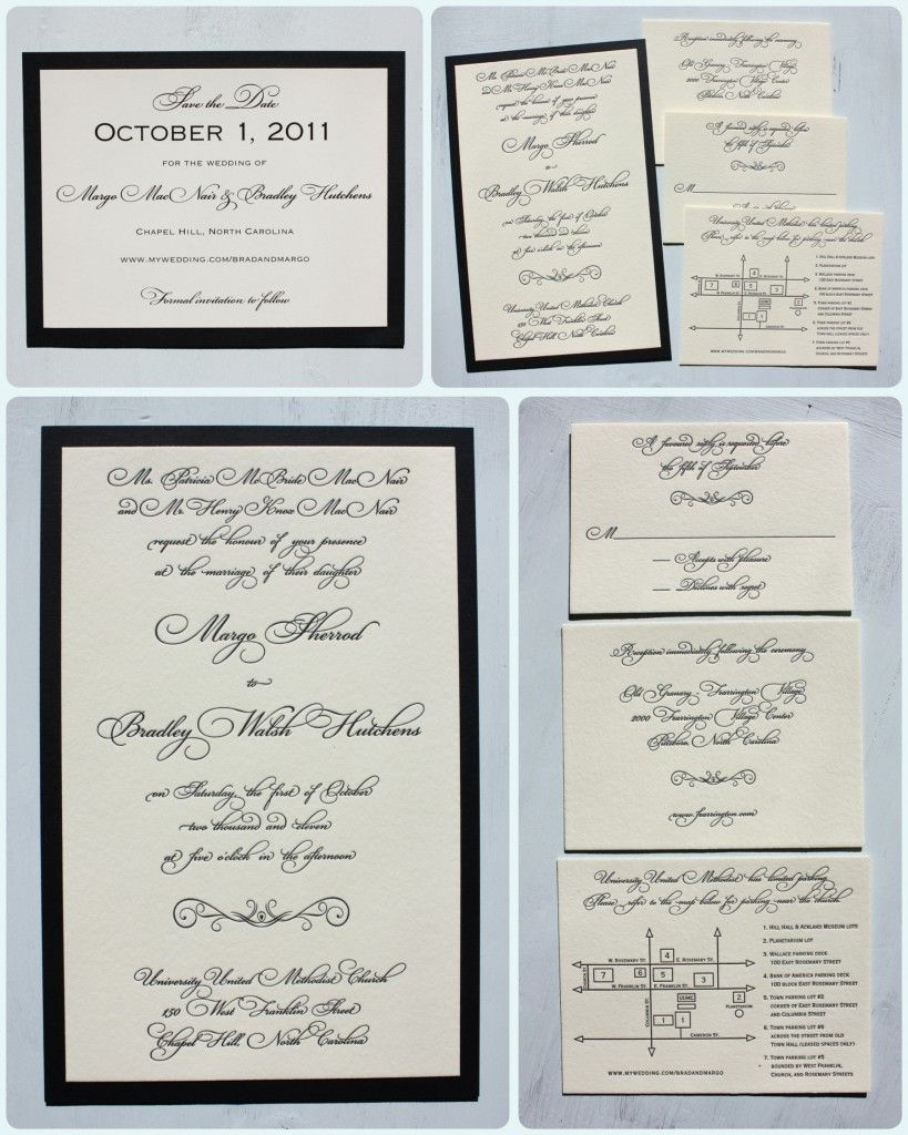 Black Fancy Script Letterpress Wedding Invitations On Ecru Cotton With Linen Backing And Matching Save
