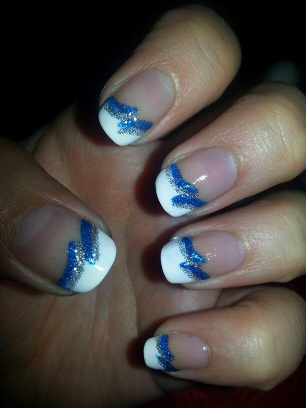 Blue and silver French tip nail design | 2 Fancy Nails | Pinterest