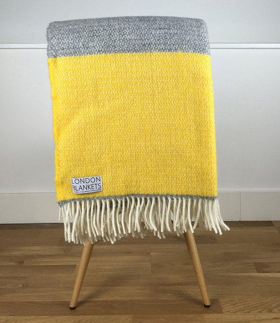Yellow Grey Throw Blanket 100 Wool
