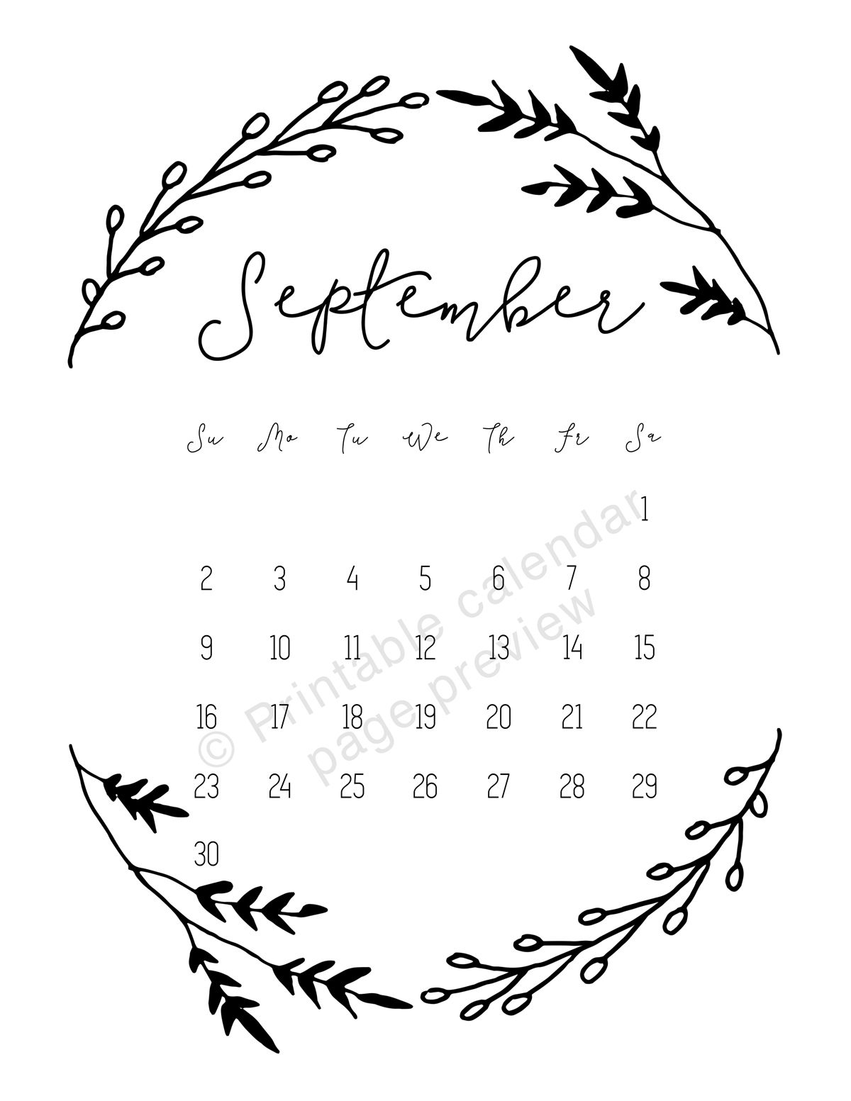 september 2018 calendar page preview from the printable calendar 2018 monthly calendar 2018 12