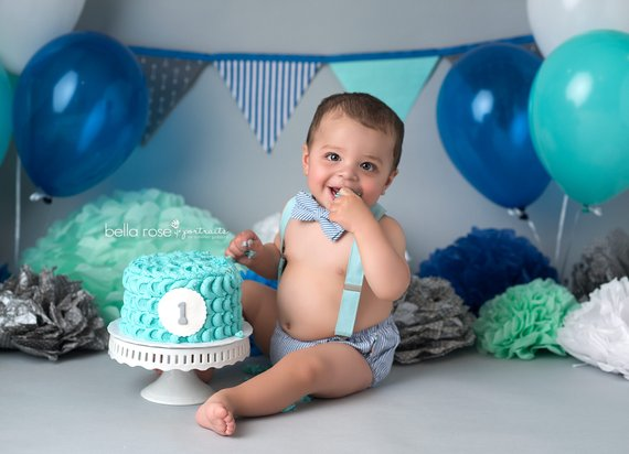 Boys First Birthday Outfit Blue 1st Clothes Boy Smash Cake Diaper Cover Set Bow