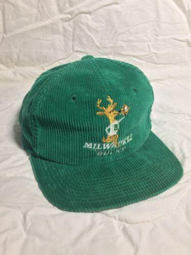 Vintage NBA Milwaukee Bucks Snapback Hat Corduroy  910a2046caee