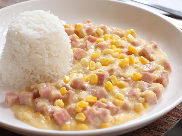 Kids favorite whats not to love spam with cream corn sauce spam with cream corn sauce over rice ccuart Choice Image