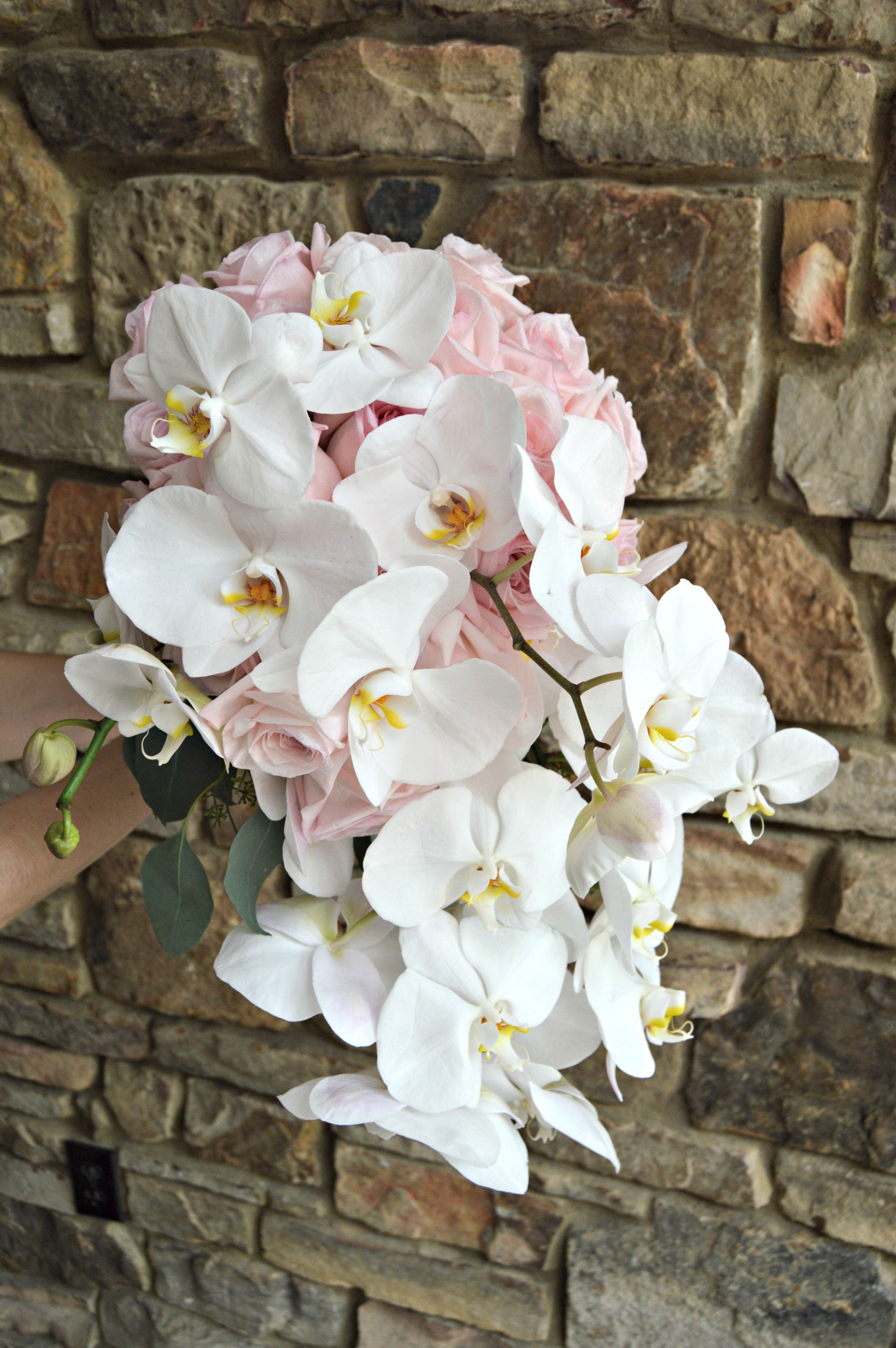 Pink Rose And White Phalaenopsis Orchid Bouquet Makes A Dramatic
