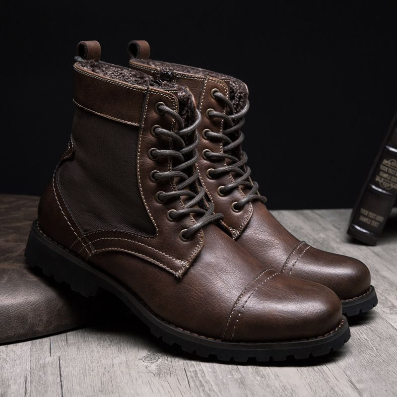 Top new men boots fashion casual high shoes cowboy style high quality lace- up classic