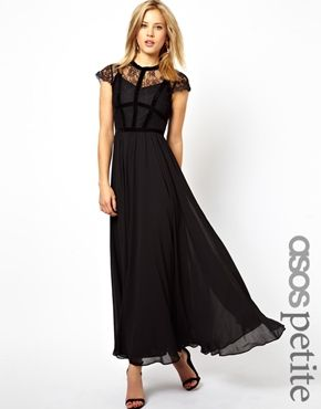 PETITE Exclusive Maxi Dress With Lace Top And Velvet Contrast ...