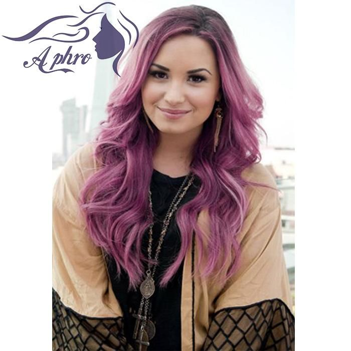 Whosale Purple Synthetic Wig Heat Resistant Ombre Red Hair Lace ...