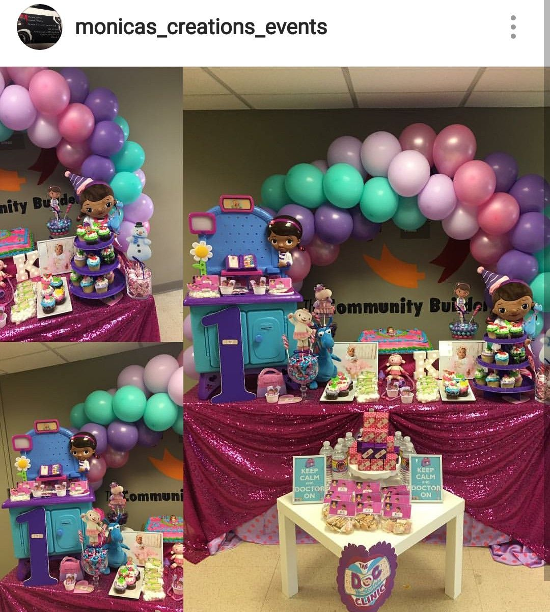 Doc mcstuffins birthday party dessert table and decor