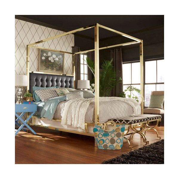 Homehills Adora Black Glam Gold Canopy Bed 1 093 Liked On Polyvore Featuring Home