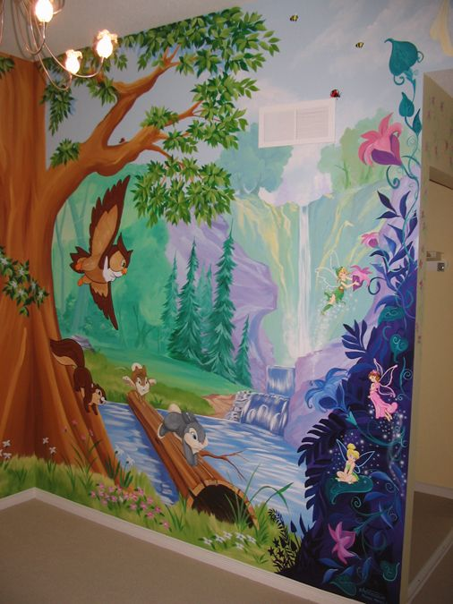 Tree and forest themed murals mural magic kenzi 39 s room for Enchanted forest wall mural