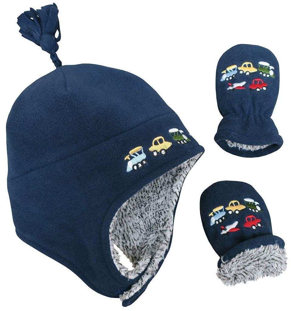 N Ice Caps Little Boys and Baby Sherpa Lined Fleece Embroidered Hat Mitten  Set 2870a7d1ec11