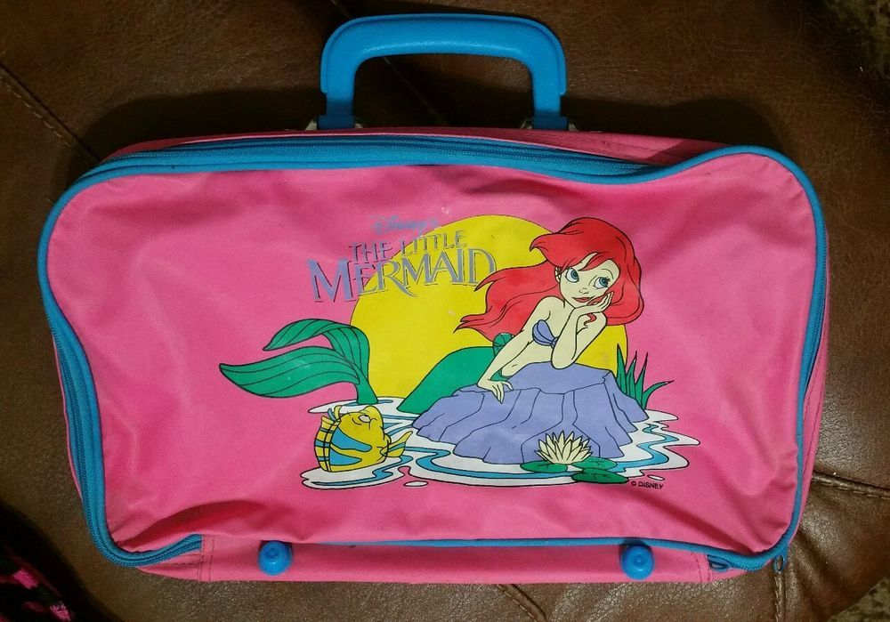 Vintage Disney 1990's Little Mermaid Pink Suitcase Kids Luggage ...