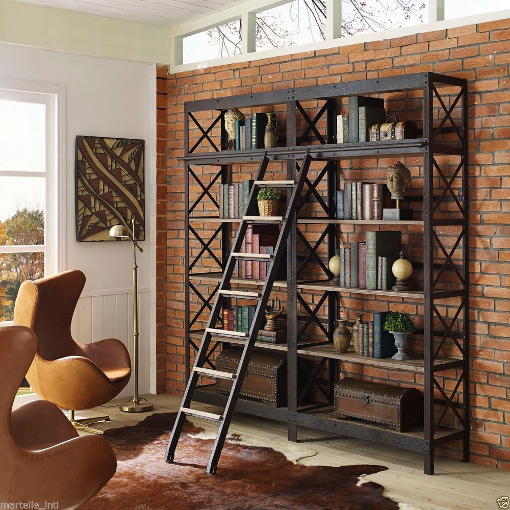 Industrial Bookcase Cast Iron & Pine w/ Ladder Rustic style