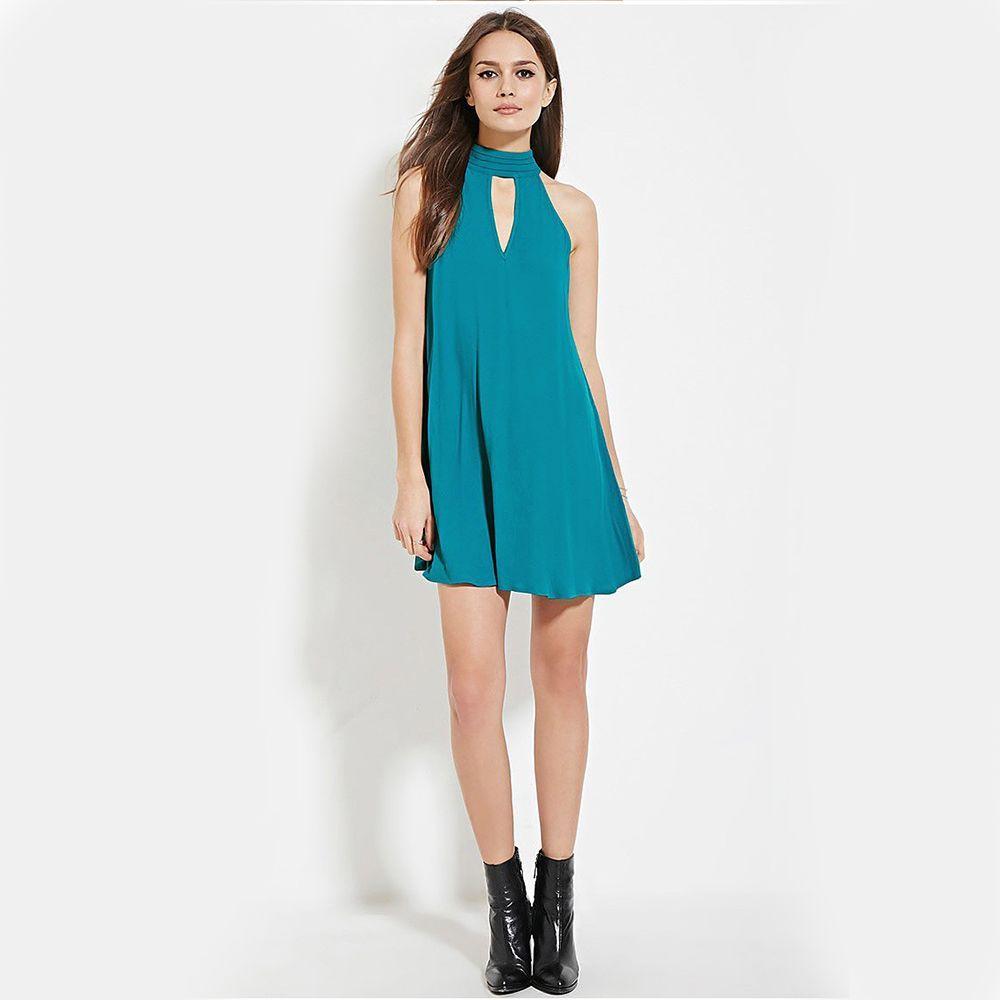 Charlee Cooper Sky Blue Halter Neck Tie Back Sleeveless Mini Dress ...
